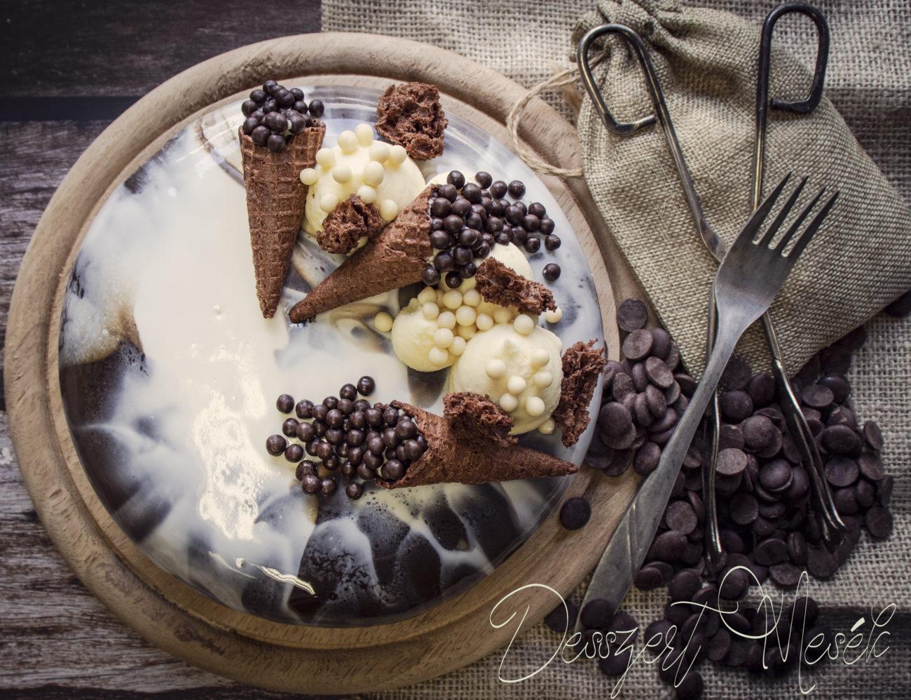 Csoki torta fehér csokis ropogóssal – recept