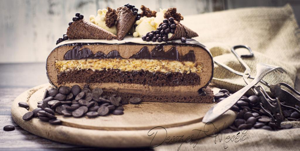 Csoki torta fehér csokis ropogóssal recept