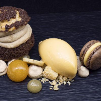 Csokis Craquelin Toblerone krémmel és sárgabarack textúrákkal