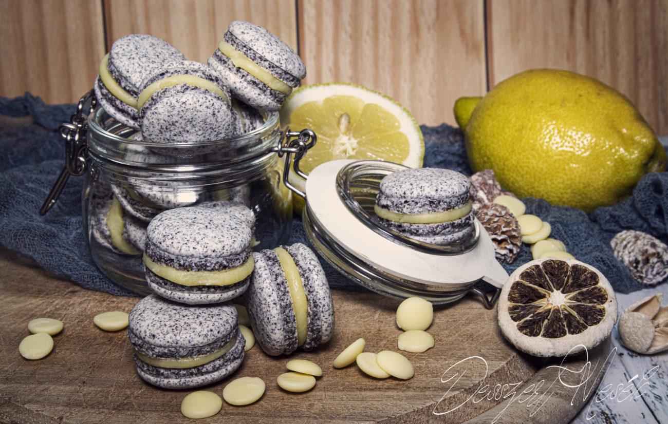 Macaron mákból, citrom töltelékkel