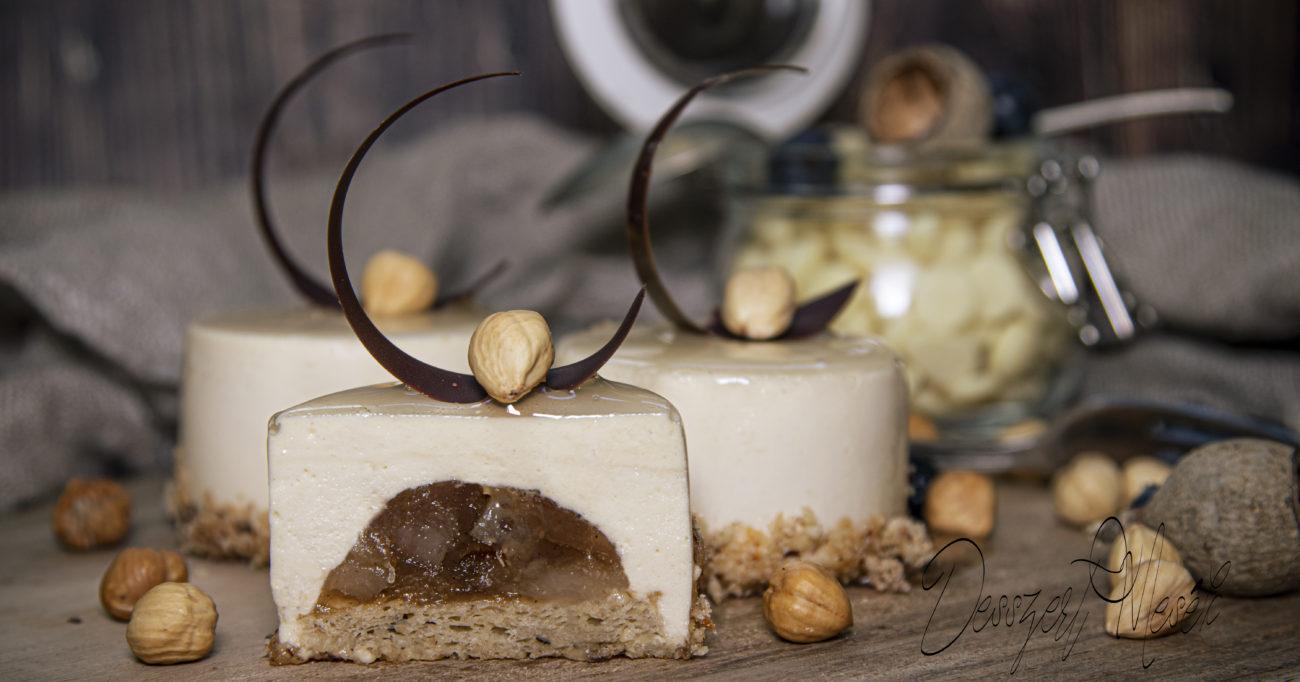Karamellizált fehércsoki-mousse körtével (24 db)