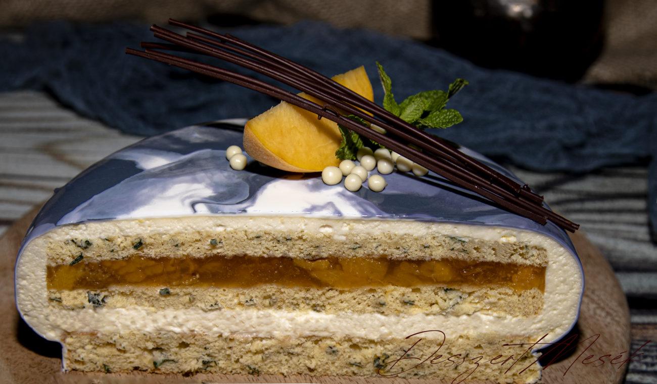 Citromos fehércsoki-mousse torta őszibarackkal